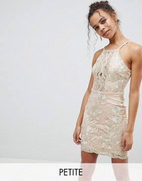 photo Embroidered Metallic Dress by Parisian Petite, color Beige Gold - Image 1