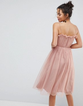 photo Cami Tulle Midi Dress with Pretty Ruffle by ASOS, color Pink - Image 2