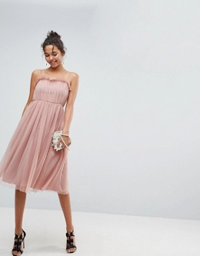 photo Cami Tulle Midi Dress with Pretty Ruffle by ASOS, color Pink - Image 1