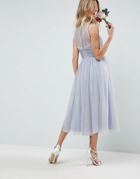 photo Bridesmaid Midi Prom Dress with Pearl Trim by ASOS DESIGN, color Blue - Image 2
