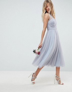 photo Bridesmaid Midi Prom Dress with Pearl Trim by ASOS DESIGN, color Blue - Image 1