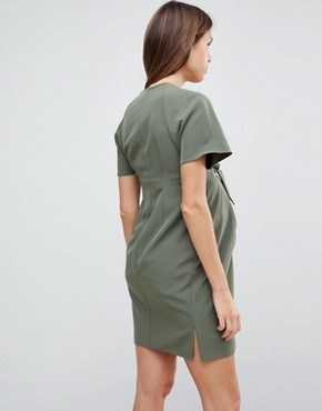photo V-Neck Column Mini Dress with Eyelet and Tie by ASOS Maternity, color Khaki - Image 2