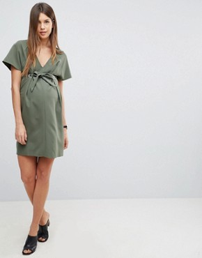 photo V-Neck Column Mini Dress with Eyelet and Tie by ASOS Maternity, color Khaki - Image 1