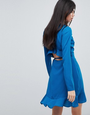 photo Ruffle Wrap Mini Dress by ASOS TALL, color Blue - Image 2
