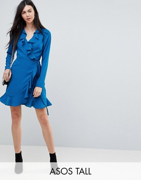 photo Ruffle Wrap Mini Dress by ASOS TALL, color Blue - Image 1