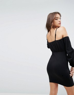 photo Balloon Sleeve Square Neck Mini Dress by ASOS, color Black - Image 2