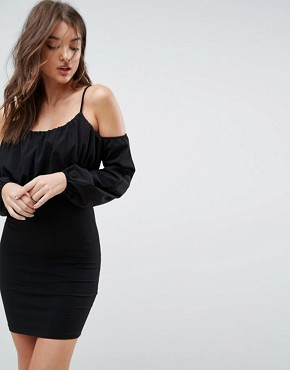 photo Balloon Sleeve Square Neck Mini Dress by ASOS, color Black - Image 1