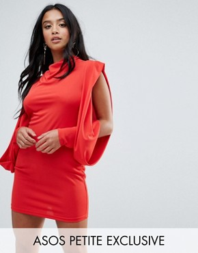 photo Cold Shoulder Drape Sleeve Bodycon Dress by ASOS PETITE, color Red - Image 1