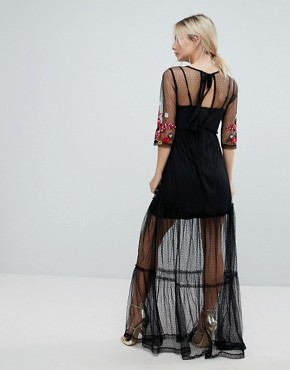 photo Mesh Maxi Dress with Embroidery by ASOS PETITE, color Black - Image 2