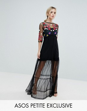 photo Mesh Maxi Dress with Embroidery by ASOS PETITE, color Black - Image 1