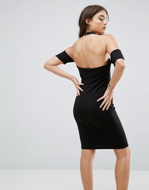 photo Cold Shoulder Dress with Halter Neck by Love & Other Things, color Black - Image 2