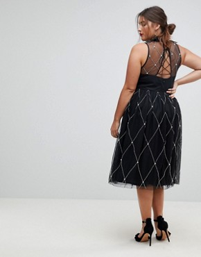 photo High Neck Pearl Embellished Midi Prom Dress by ASOS CURVE PREMIUM, color Black - Image 2