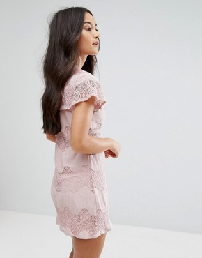 photo Mini Dress with Lace Frill by Love & Other Things, color Pink - Image 2