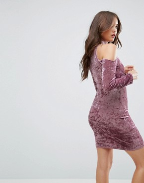 photo Cold Shoulder Velvet Bodycon Dress by Love & Other Things, color Pink Velvet - Image 2