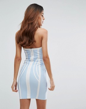 photo Contrast Bandage Bodycon Dress by Love & Other Things, color Blue - Image 2