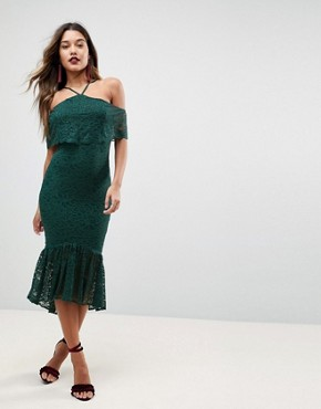 photo Bandeau Flutter Sleeve Lace Midi Pephem Dress by ASOS, color Green - Image 1