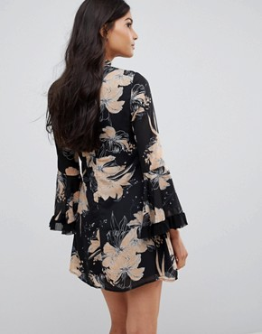 High Neck Floral Dress With Flare Sleeve - Black/beige Parisian 89Dmwh