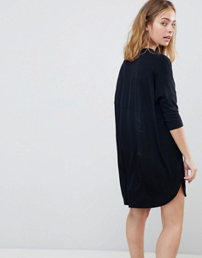 photo Oversize T-Shirt Dress with Seam Detail by ASOS PETITE, color Black - Image 2