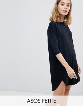 photo Oversize T-Shirt Dress with Seam Detail by ASOS PETITE, color Black - Image 1