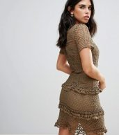 photo Layered Lace Dress by Liquorish, color Khaki - Image 2