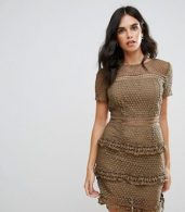 photo Layered Lace Dress by Liquorish, color Khaki - Image 1