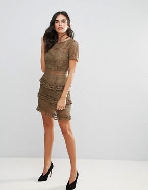 photo Layered Lace Dress by Liquorish, color Khaki - Image 4