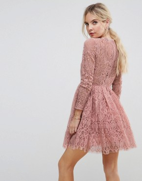 photo Long Sleeve Lace Mini Prom Dress by ASOS PETITE, color Light Pink - Image 2