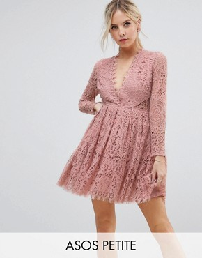 photo Long Sleeve Lace Mini Prom Dress by ASOS PETITE, color Light Pink - Image 1