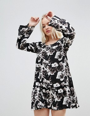 photo Floral Splodge Frill Dress by Rock & Religion, color Black/White - Image 1