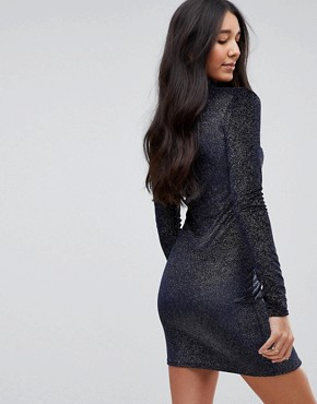 photo High Neck Bodycon Dress in Glitter Velvet by Glamorous Tall, color Navy - Image 2