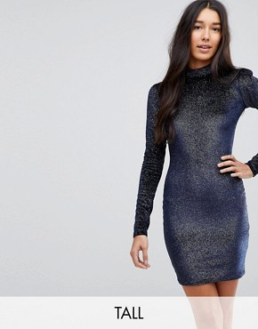 photo High Neck Bodycon Dress in Glitter Velvet by Glamorous Tall, color Navy - Image 1