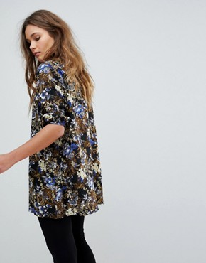 photo Floral Print Tunic Dress by Rock & Religion, color Black/Khaki - Image 2