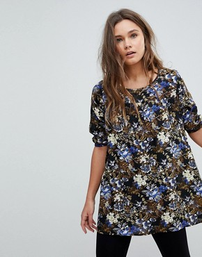 photo Floral Print Tunic Dress by Rock & Religion, color Black/Khaki - Image 1