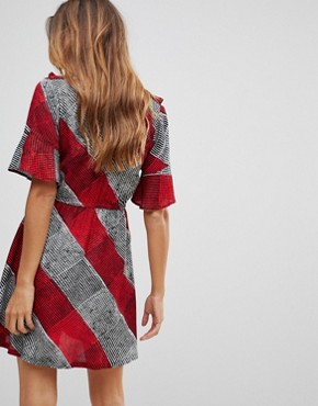 photo Check Frill Dress by Rock & Religion, color Red/Grey - Image 2