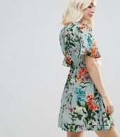 photo Floral Frill Dress by Rock & Religion, color Light Green Large Floral - Image 2