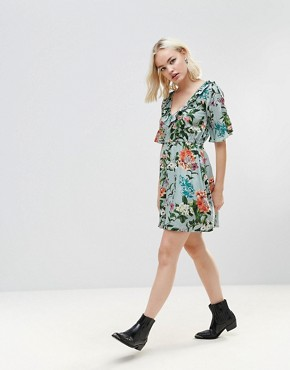 photo Floral Frill Dress by Rock & Religion, color Light Green Large Floral - Image 4
