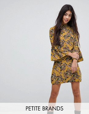 photo High Neck Floral Dress with Flare Sleeve by Parisian Petite, color Mustard - Image 1