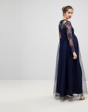 photo Lace Maxi Dress with Long Sleeves by ASOS Maternity, color Navy - Image 2