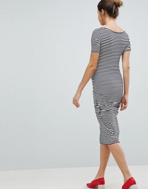 photo Stripe Jersey Midi T-Shirt Dress by Isabella Oliver, color Navy/Off White - Image 2