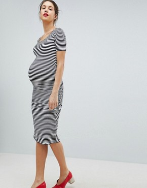 photo Stripe Jersey Midi T-Shirt Dress by Isabella Oliver, color Navy/Off White - Image 1