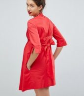 photo Tunic Shirt Dress with Tie Back by Isabella Oliver, color Red - Image 2