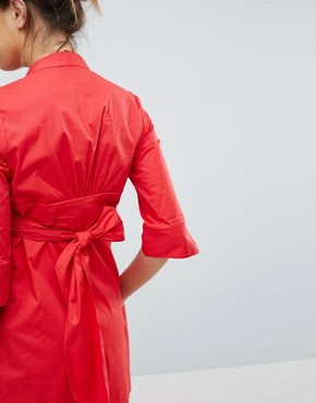 photo Tunic Shirt Dress with Tie Back by Isabella Oliver, color Red - Image 3