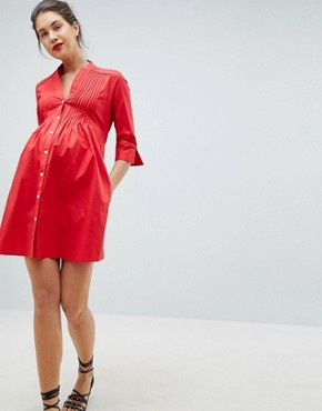 photo Tunic Shirt Dress with Tie Back by Isabella Oliver, color Red - Image 4