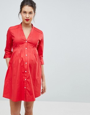 photo Tunic Shirt Dress with Tie Back by Isabella Oliver, color Red - Image 1