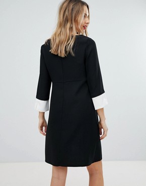 photo Shift Dress with Fluted Sleeve by Isabella Oliver, color Black - Image 2