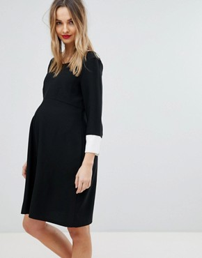 photo Shift Dress with Fluted Sleeve by Isabella Oliver, color Black - Image 1