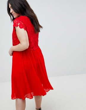 photo Crochet Pleated Dress by Lovedrobe, color Red - Image 2