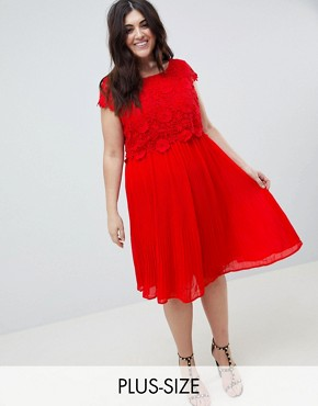 photo Crochet Pleated Dress by Lovedrobe, color Red - Image 1