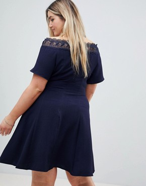 photo Lace Trim Bardot Skater Dress by Lovedrobe, color Navy - Image 2