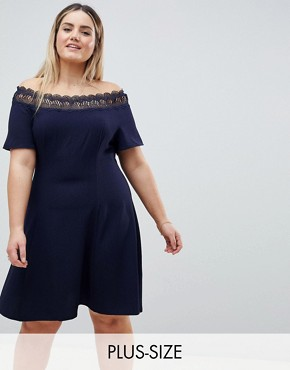 photo Lace Trim Bardot Skater Dress by Lovedrobe, color Navy - Image 1